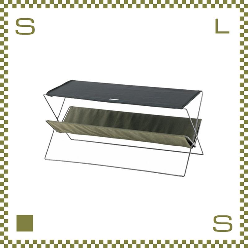 フォールディングテーブル グリーン W50/D41/H42cm 折り畳み ローテーブル ミリタリー風 アウトドア azu-mip95gr