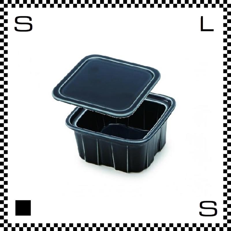 瑞浪焼 陶器製フードコンテナ Sサイズ ネイビー 蓋付 W105/D105/H62mm 160cc 美濃焼