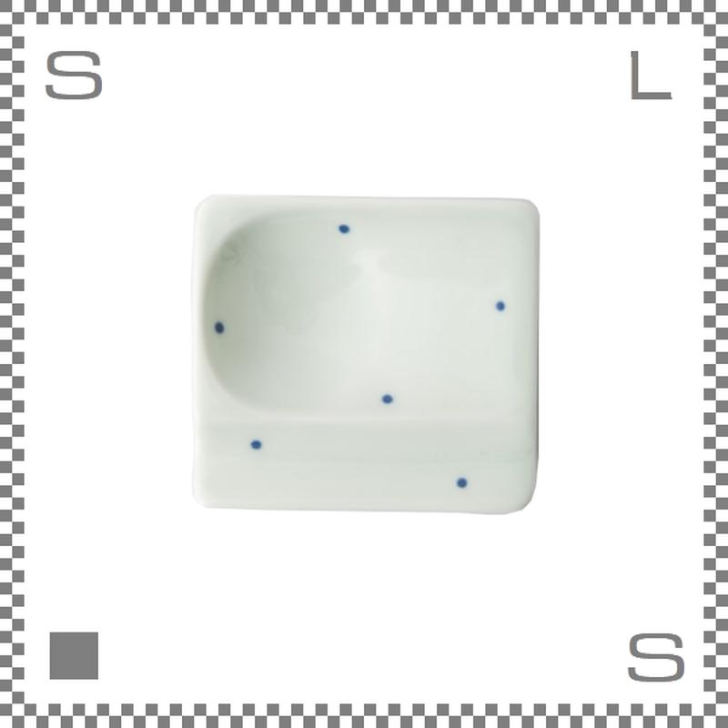 aiyu アイユー 重宝皿 水玉 青 ブルー W8/D7.2/H1.3cm スクエアプレート 万能皿 箸置きスペースあり 波佐見焼 日本製