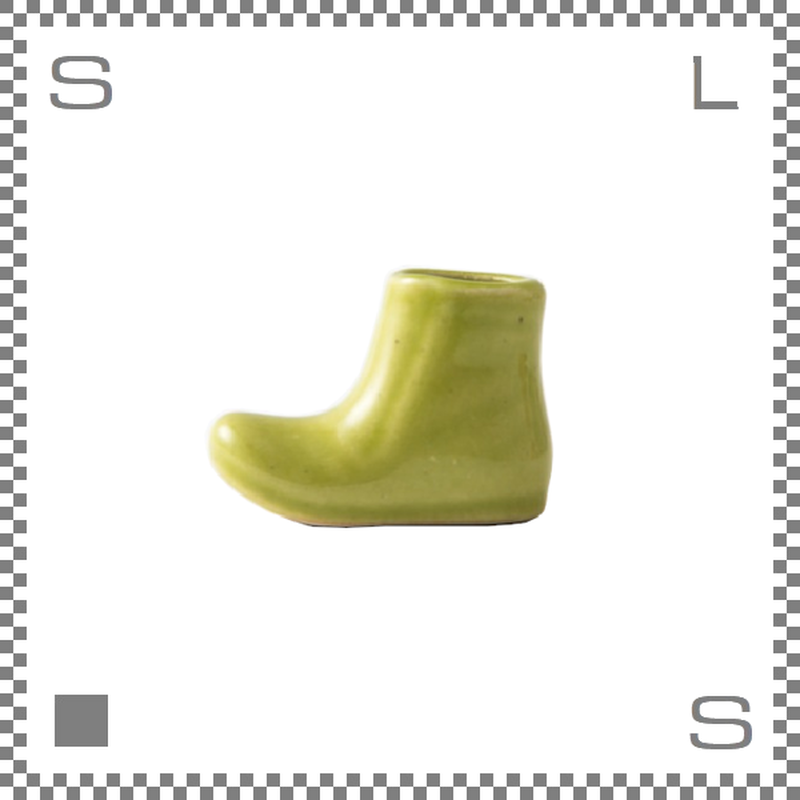 aiyu アイユー 一輪はしおき ブーツ グリーン W4.3/H3.3cm 箸置き チョップスティックレスト 波佐見焼 日本製