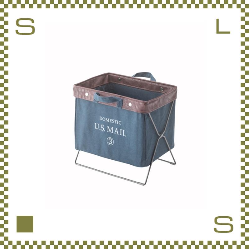 フォールディングバッグ ネイビー W39/D26/H35cm 折り畳み 収納ボックス マガジンラック 持ち手付き ミリタリー風 アウトドア azu-mip89nv