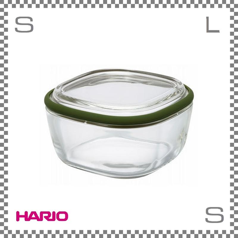 HARIO ハリオ スクエアコンテナ クリア Mサイズ オリーブグリーン 600ml W134/D134/H75mm 耐熱ガラス製 電子レンジ可 オーブン可 食洗機可 日本製 cwk-m-og