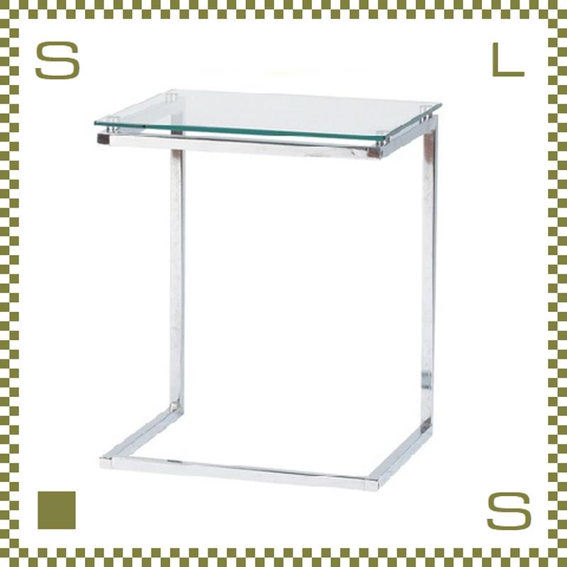 ガラスサイドテーブル クリア  W45/D40/H54.5cm ガラス天板 PCサイドデスク azu-pt15cl