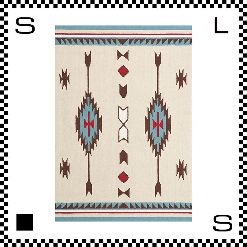 アートワークスタジオ Chimayo チマヨ ラグ ネイティブアメリカン風 Lサイズ クリーム 200×140cm ハンドメイド 床暖房・Hカーペット対応 TR-4238-CR