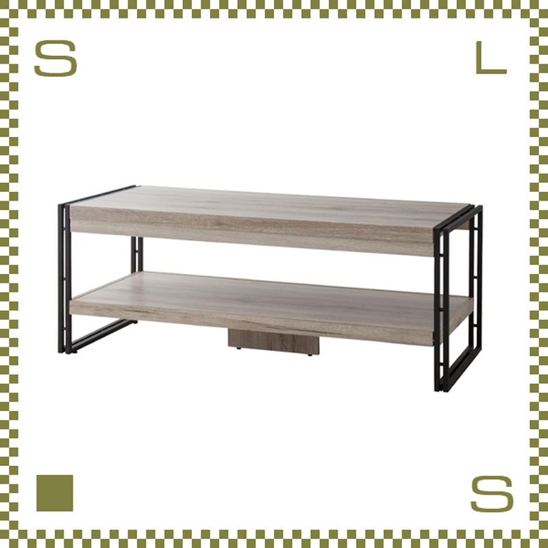 コーヒーテーブル W120/D50/H45.5cm 棚あり ブルックリンスタイル ブラックスチールフレーム azu-ol571