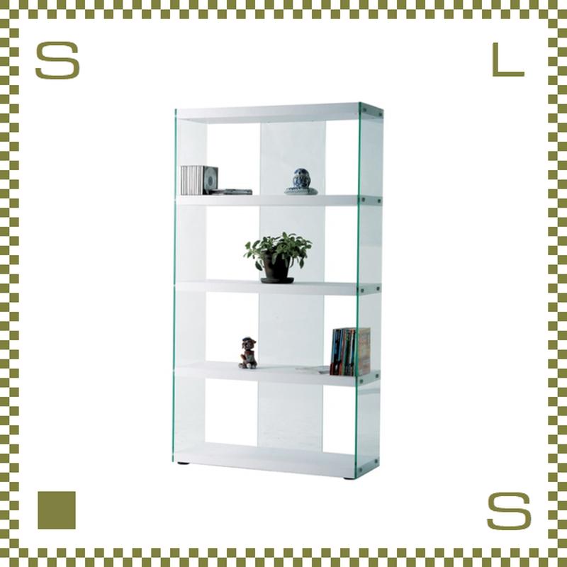 グラスシェルフ 4段 ホワイト W83/D31.5/H149cm 強化ガラス使用 オープンシェルフ 底面アジャスター付き azu-hab624wh