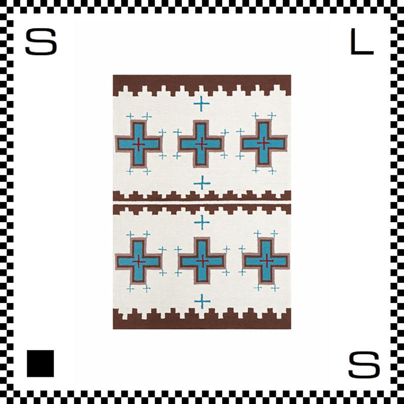 アートワークスタジオ Cross クロス ラグ ネイティブアメリカン風 Mサイズ ホワイト 140×100cm ハンドメイド 床暖房・Hカーペット対応 TR-4281-WH