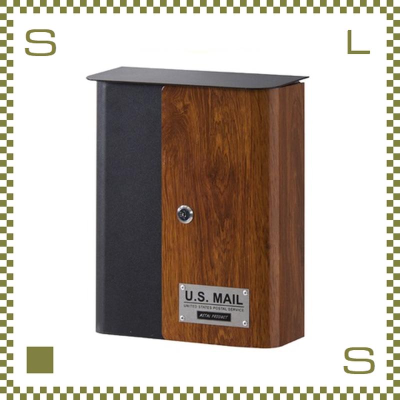 ポスト U.S. MAIL ウッドプリント W26.5/D12/H32.5cm 鍵付き メールボックス 郵便ポスト azu-pst215c