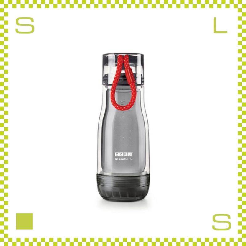 ZOKU ゾク コアボトル 355ml ブラック ダブルウォール ストラップ付 内側:耐熱ガラス 水筒 携帯ボトル