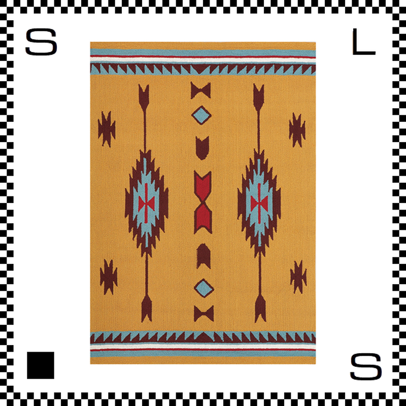 アートワークスタジオ Chimayo チマヨ ラグ ネイティブアメリカン風 Lサイズ オレンジ 200×140cm ハンドメイド 床暖房・Hカーペット対応 TR-4238-OR