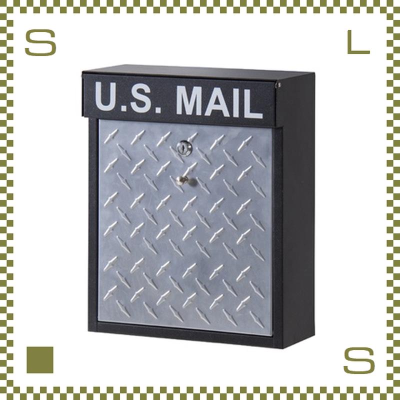 ポスト U.S. MAIL 縞鋼板 W30/D13/H37cm 鍵付き メールボックス 郵便ポスト チェッカーズプレート azu-pst215b