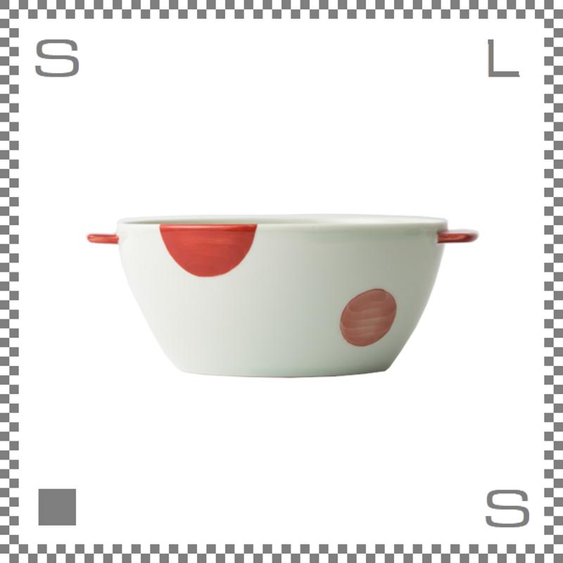 aiyu アイユー 丼 どんぶり 二色丸紋 赤 W20.5/D14/H7.7cm 750cc 持ち手付 ボウル シチュー皿 波佐見焼 日本製