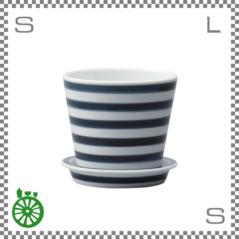 essence エッセンス テーブルポット ボーダー ブルー Φ9.7/H9cm 植木鉢 受皿付きハンドペイント 波佐見焼 日本製