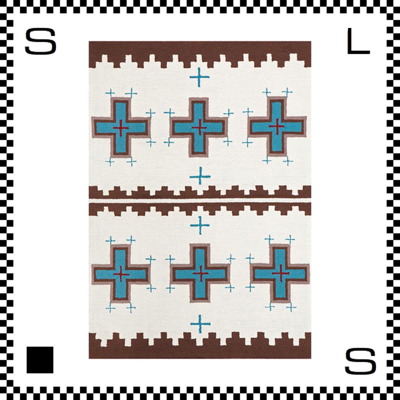 アートワークスタジオ Cross クロス ラグ ネイティブアメリカン風 Lサイズ ホワイト 200×140cm ハンドメイド 床暖房・Hカーペット対応 TR-4239-WH