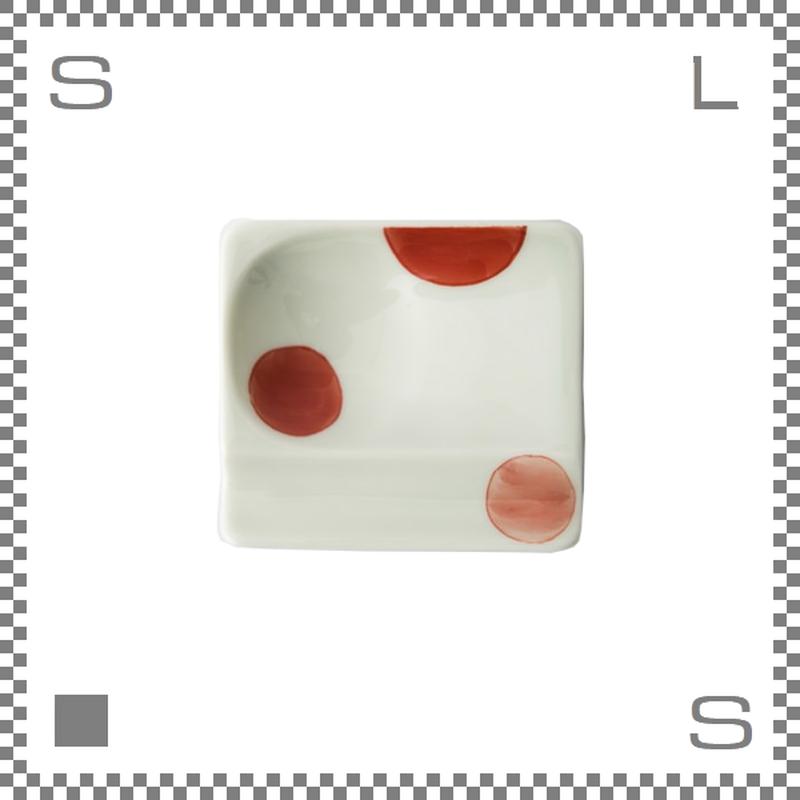 aiyu アイユー 重宝皿 二色丸紋 赤 レッド W8/D7.2/H1.3cm スクエアプレート 万能皿 箸置きスペースあり 波佐見焼 日本製