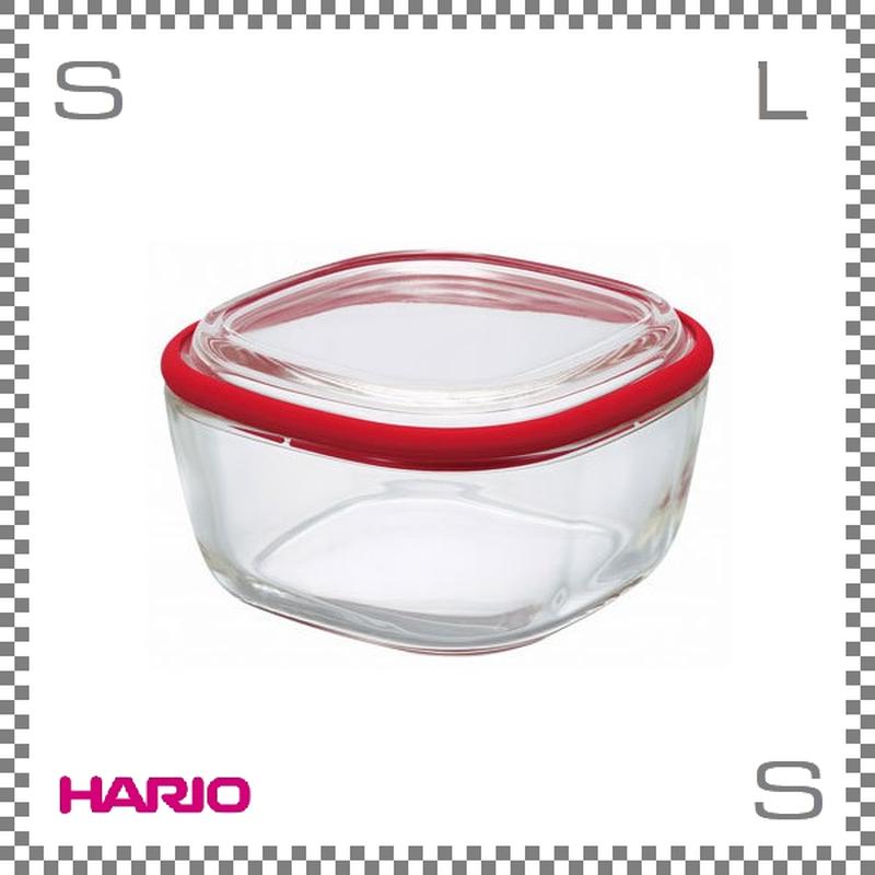 HARIO ハリオ スクエアコンテナ クリア Mサイズ レッド 600ml W134/D134/H75mm 耐熱ガラス製 電子レンジ可 オーブン可 食洗機可 日本製 cwk-m-r