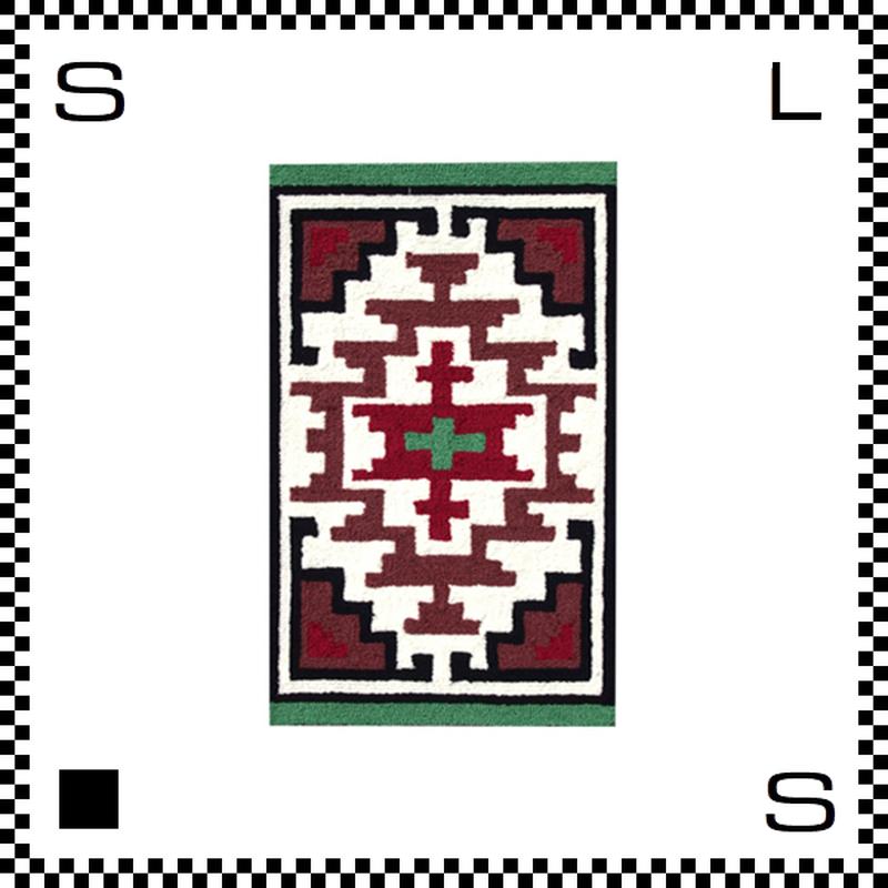 アートワークスタジオ Hills ヒルズ ラグ ネイティブアメリカン風 Sサイズ グリーン 80×50cm ハンドメイド 床暖房・Hカーペット対応 TR-4279-GN