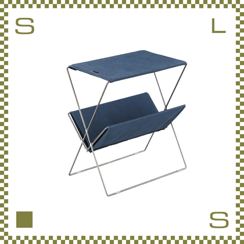 フォールディングサイドテーブル ネイビー W50.5/D31.5/H53cm 折り畳み キャンバス製 ミリタリー風 アウトドア azu-mip91nv