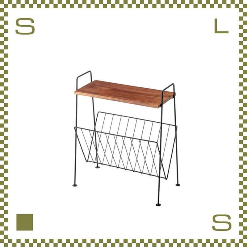 サイドテーブル マガジンラック付き ブラック W39.5/D21/H45cm ミニチェスト ミニラック azu-akb435bk