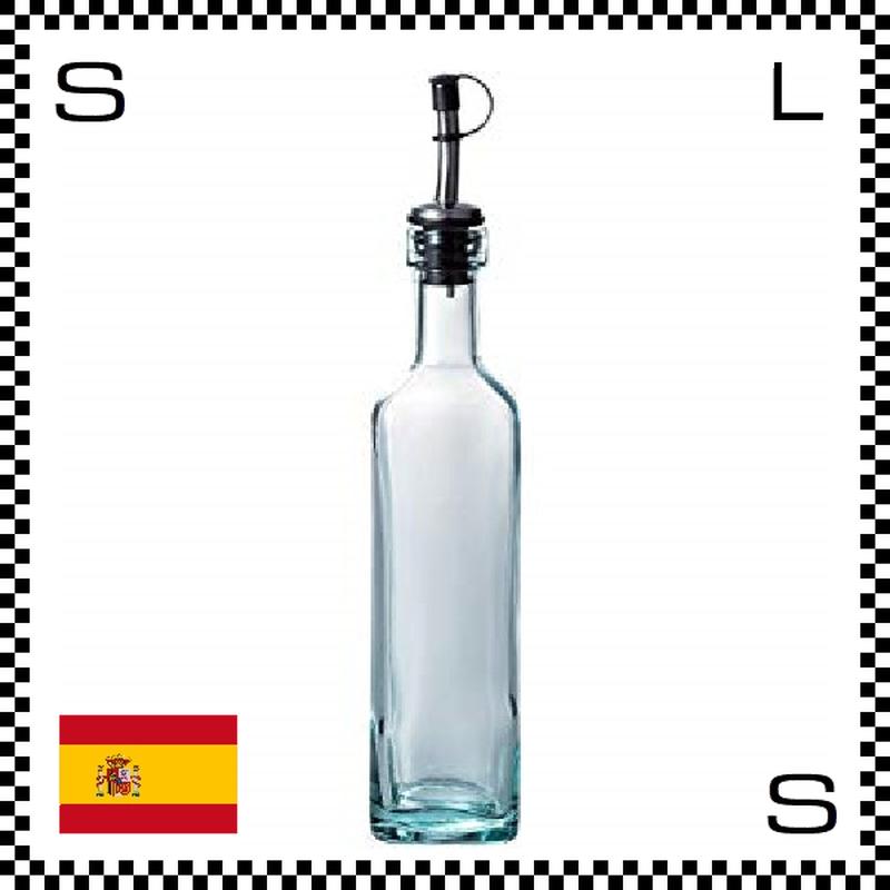 リサイクルガラス ガラスオイルボトル 400cc W56/D56/H270mm 注ぎ口付き ボトルタイプ ステンレス蓋 カフェ スペイン製 g490046