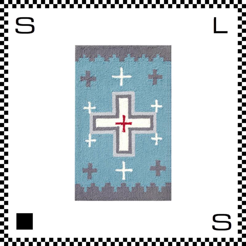 アートワークスタジオ Cross クロス ラグ ネイティブアメリカン風 Sサイズ ライトブルー 80×50cm ハンドメイド 床暖房・Hカーペット対応 TR-4277-LBL