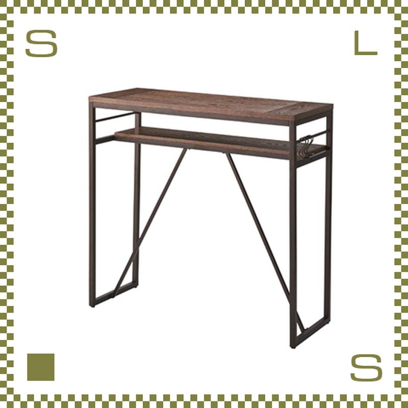 カウンターテーブル ブラック W105/D43/H100cm 棚付き サイドテーブル S字フック付き azu-pt782bk