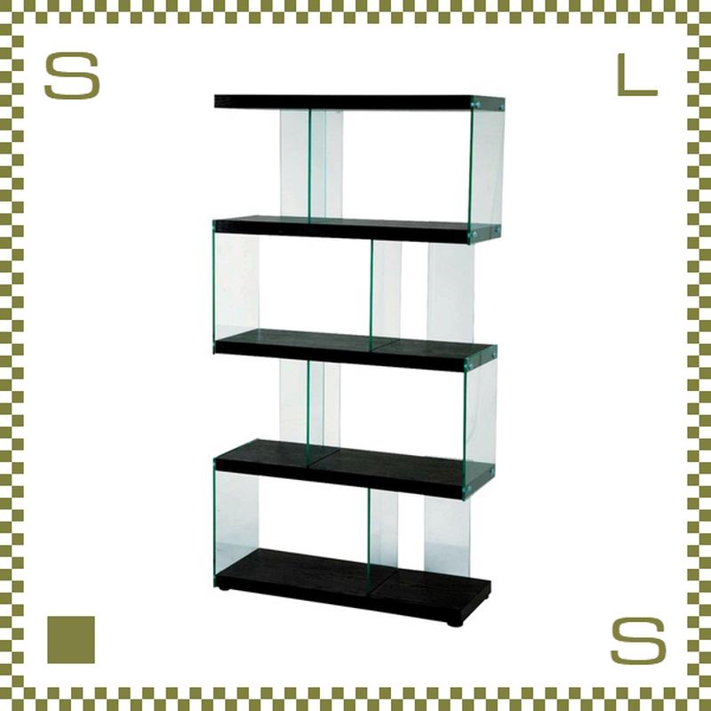 ガラス組み合わせデザインシェルフ W82.5/D31/H152cm 強化ガラス使用 オープンシェルフ オープンラック azu-is684bk