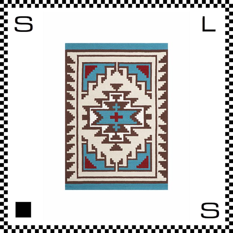 アートワークスタジオ Hills ヒルズ ラグ ネイティブアメリカン風 Mサイズ ブルー 140×100cm ハンドメイド 床暖房・Hカーペット対応 TR-4283-BL