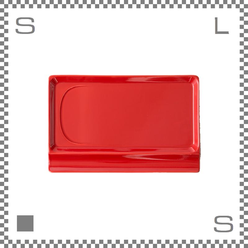 aiyu アイユー 重宝皿ロング レッド W23.6/D15.7/H1.2cm スクエアプレート 万能皿 箸置きスペースあり 波佐見焼 日本製
