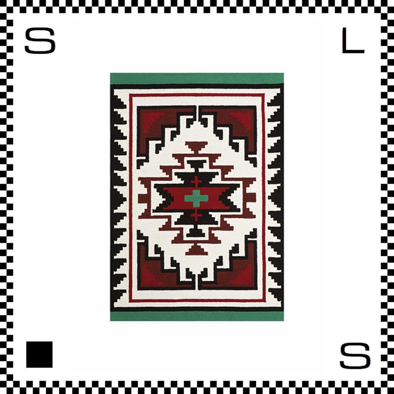 アートワークスタジオ Hills ヒルズ ラグ ネイティブアメリカン風 Mサイズ グリーン 140×100cm ハンドメイド 床暖房・Hカーペット対応 TR-4283-GN