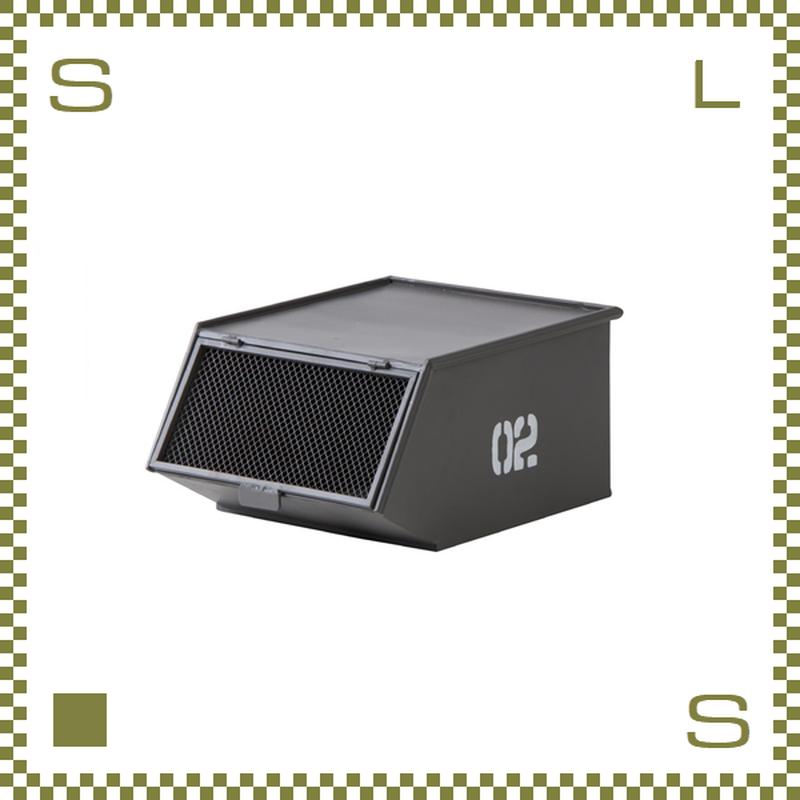 スタッキングトレーボックス ミリタリー風 グレー W33/D41/H20cm 金網付きフラップドア付き スチール製 azu-lfs441gy