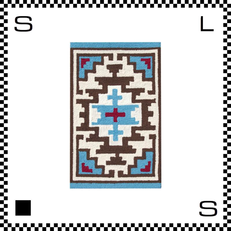 アートワークスタジオ Hills ヒルズ ラグ ネイティブアメリカン風 Sサイズ ブルー 80×50cm ハンドメイド 床暖房・Hカーペット対応 TR-4279-BL