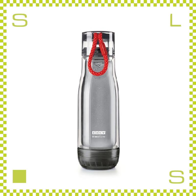 ZOKU ゾク コアボトル 475ml ブラック ダブルウォール ストラップ付 内側:耐熱ガラス 水筒 携帯ボトル
