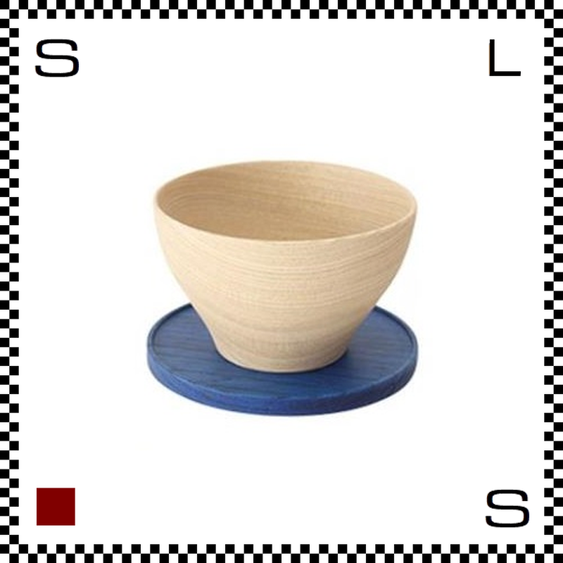 山中漆器 木のカップ&ソーサー KOMA コマ ブルー Φ88/H54mm ウッドカップ ハンドメイド 日本製