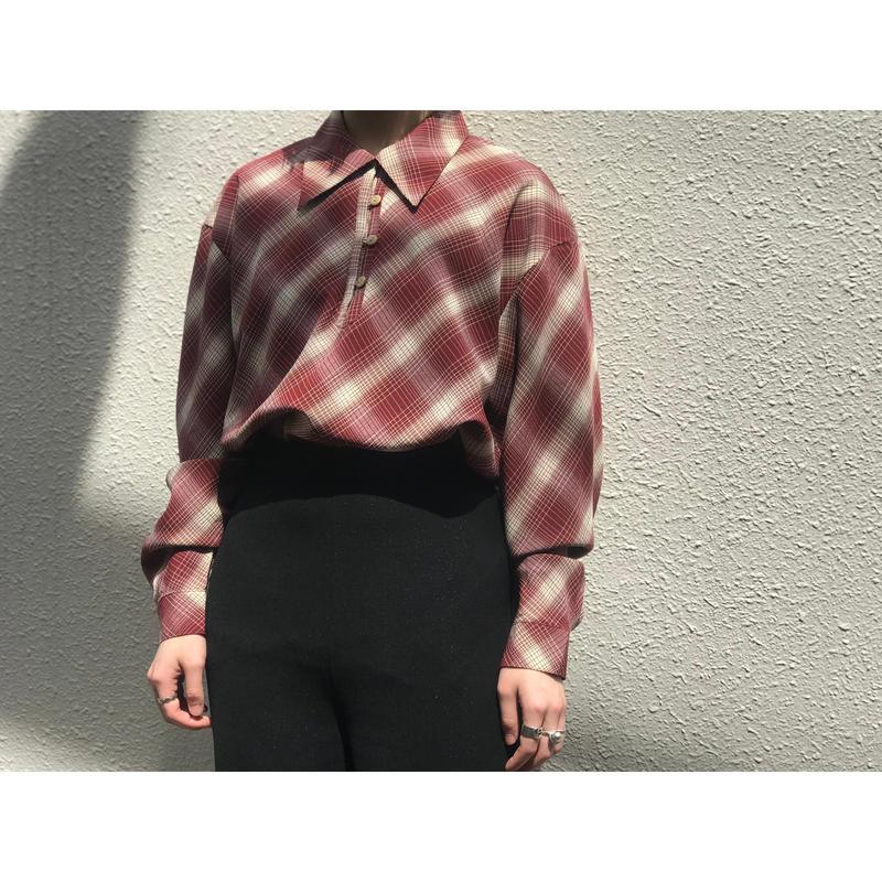 80年代 シャドーチェックプルオーバーシャツ