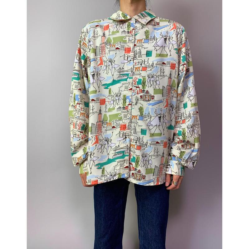 90年代 総柄レーヨンブレンドシャツ