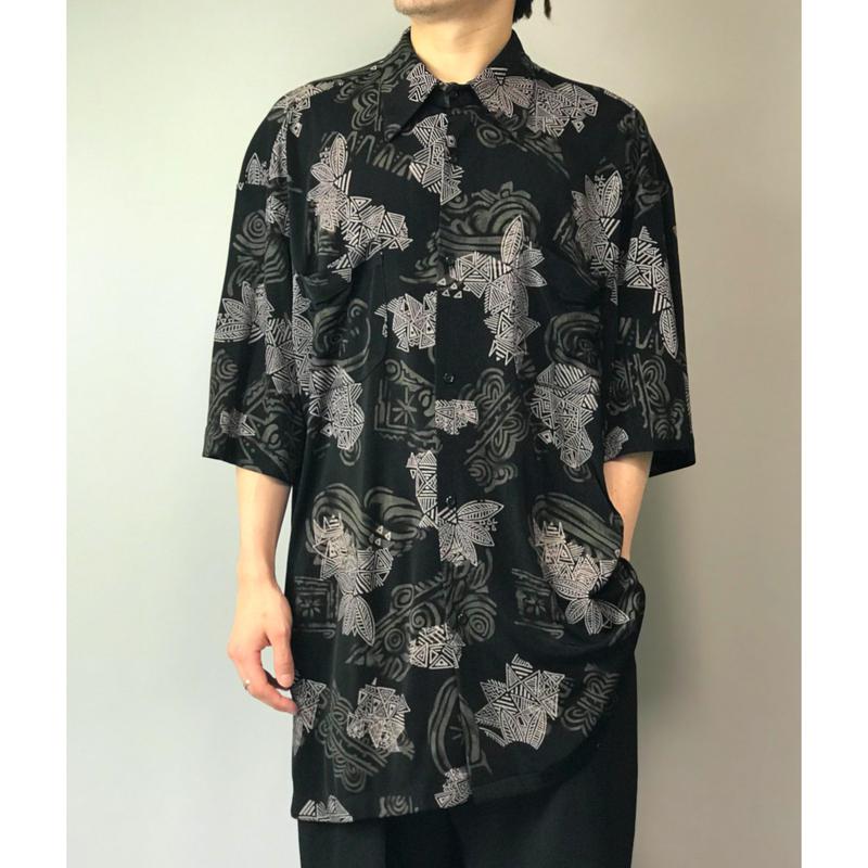 90年代 レーヨンブレンド総柄シャツ