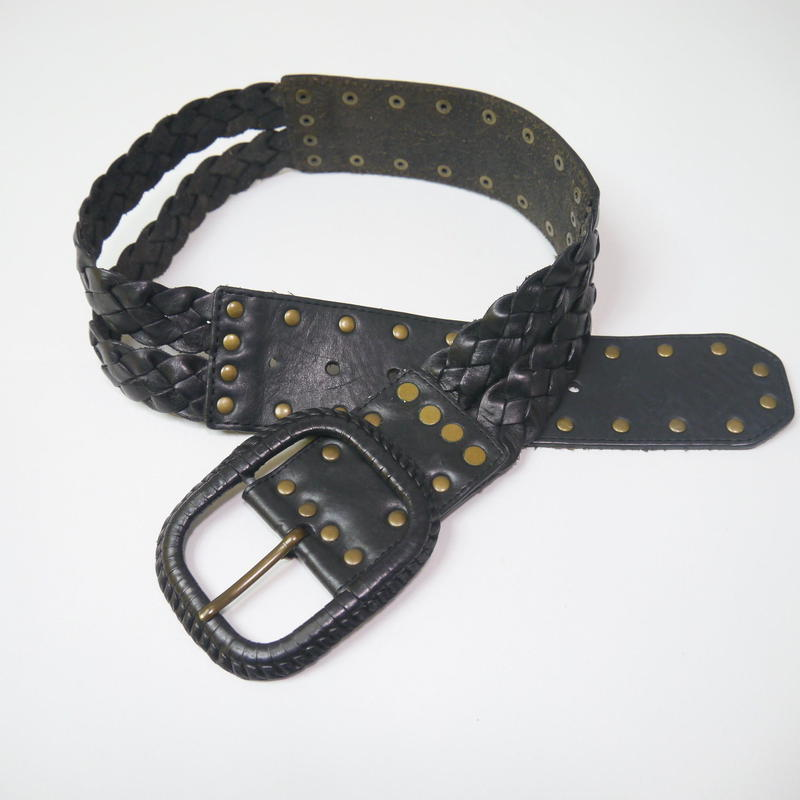 Studs leather belt(BLK)