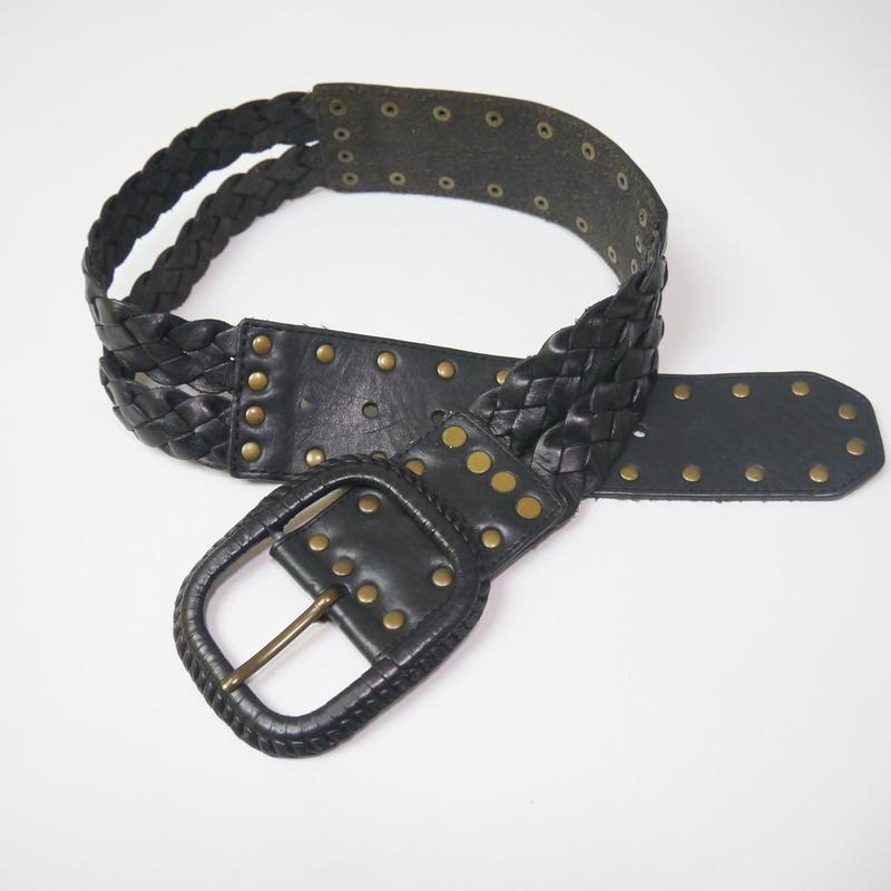 Studs leather belt(BLK)