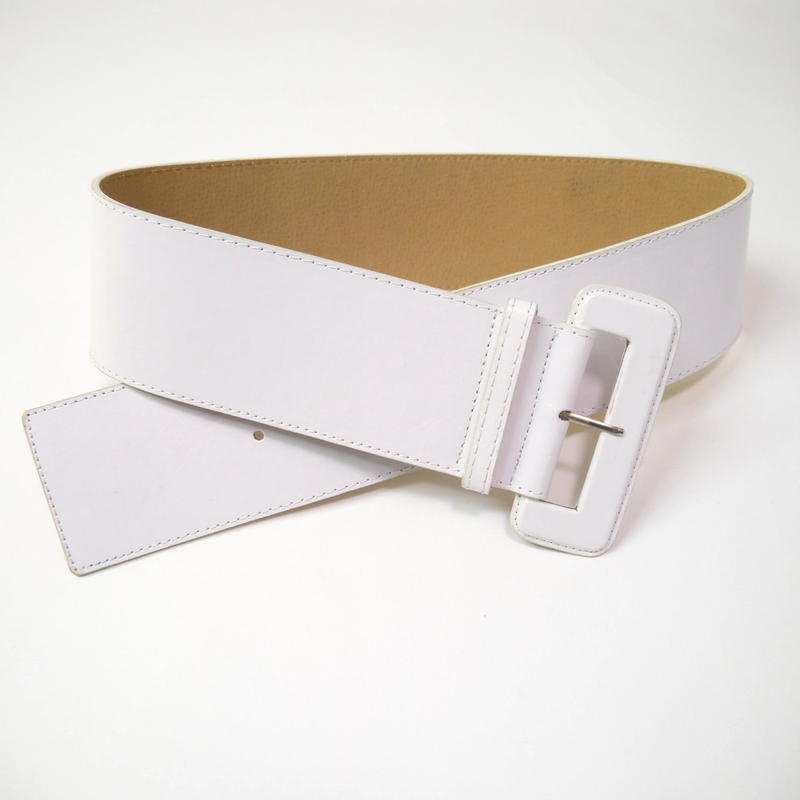 wide leather belt(WHT)