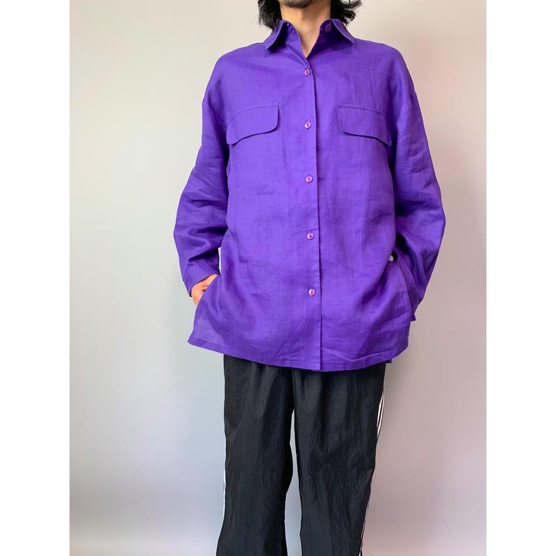 90年代 リネンドレスシャツ