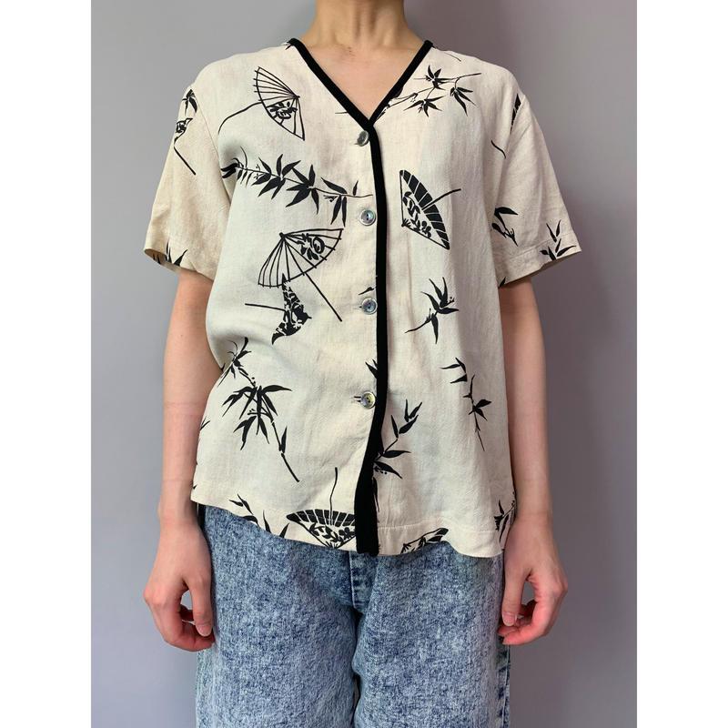 90年代 和柄ノーカラーシャツ