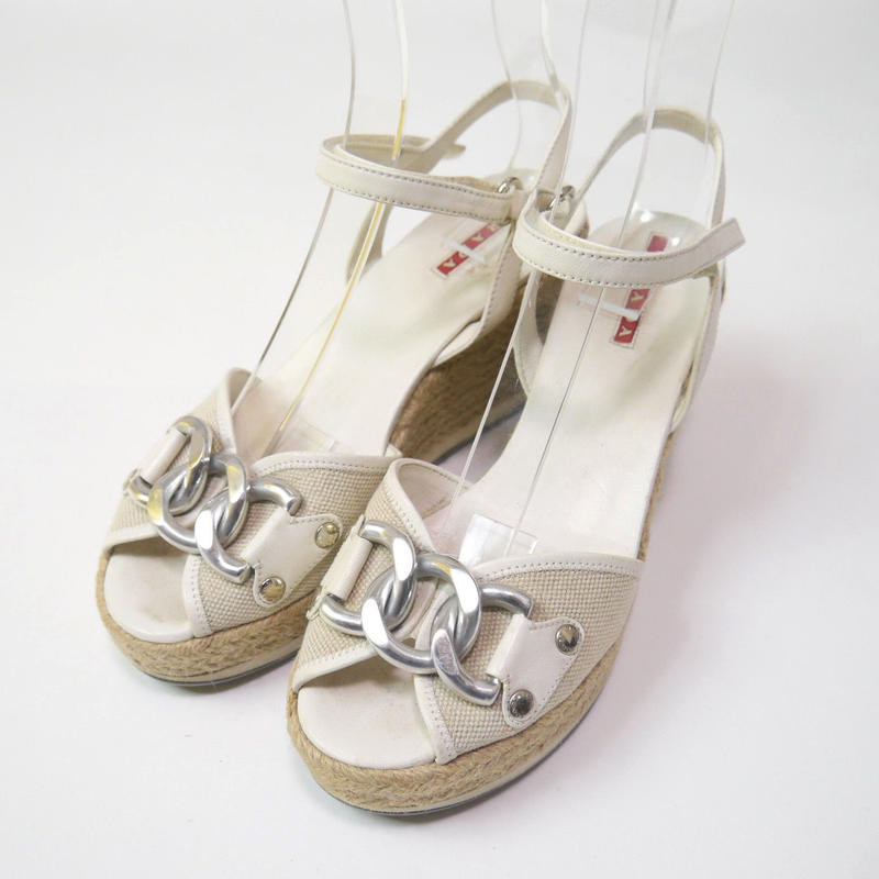 """""""PRADA"""" wedge sandals(made in Italy)"""