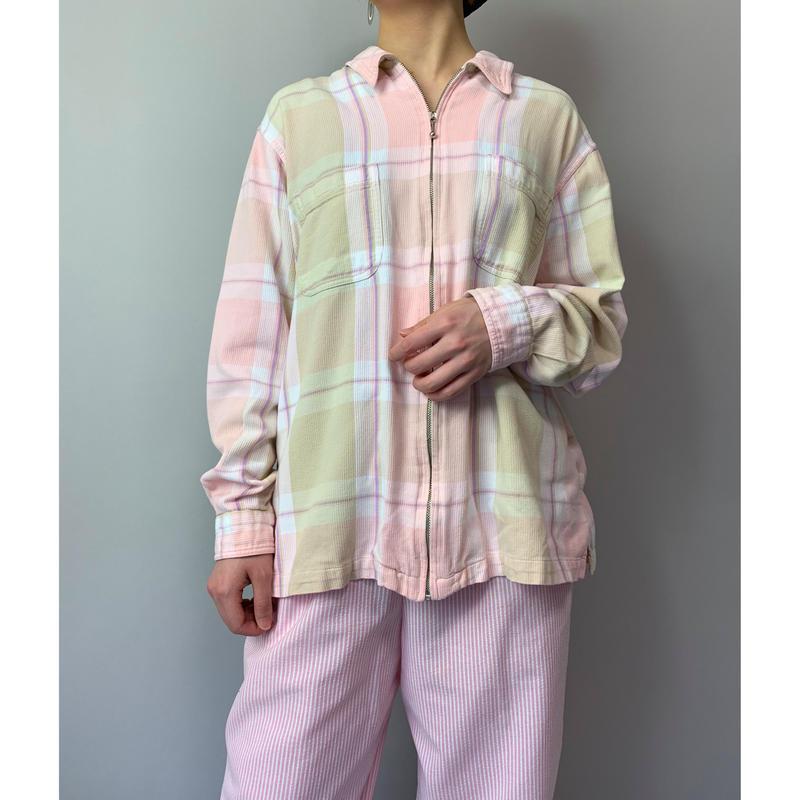 90年代 コットンチェックジップシャツ