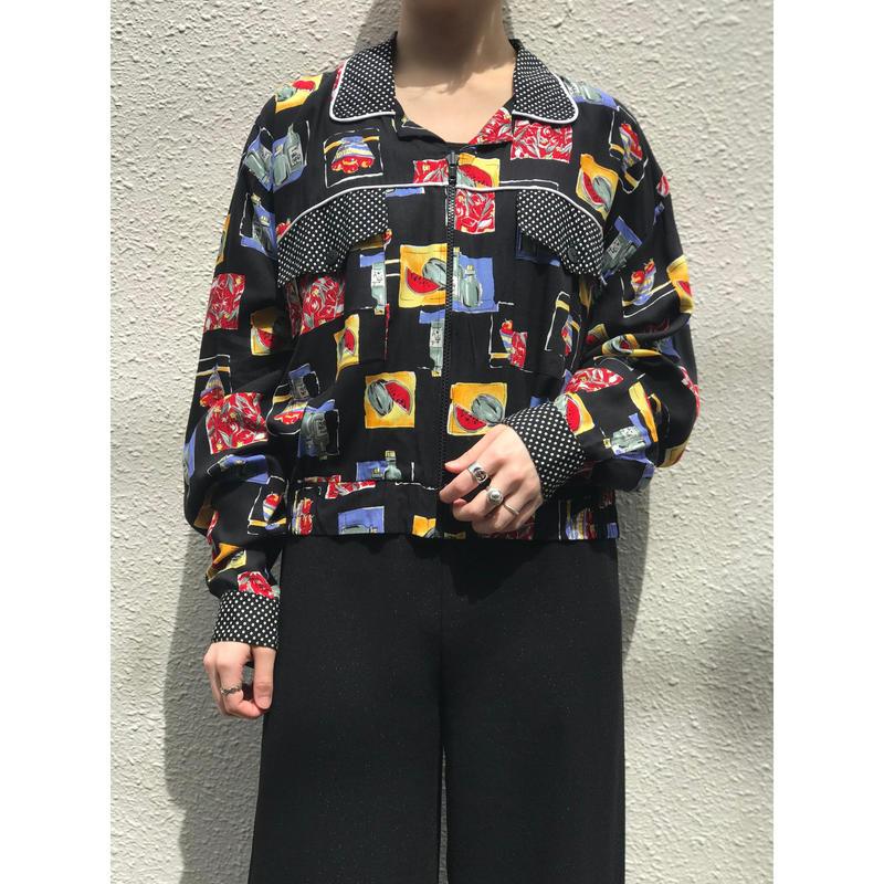 80年代 ヴィスコース総柄ジップジャケット