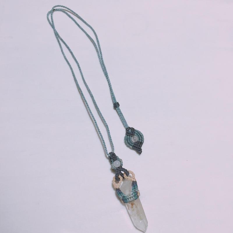 マクラメ 水晶 ポイント ネックレス