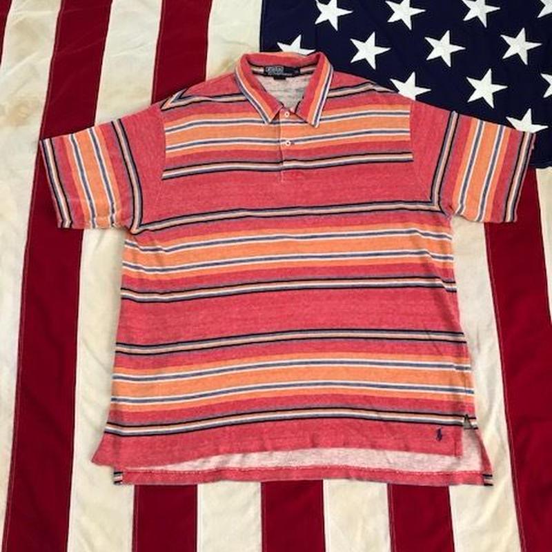 【USED】POLO RALPH LAUREN STRIPE PILE polo shirt マルチ LL