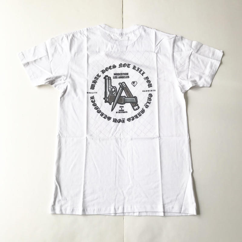 Modestion LA BORN & RAISED IN THE STREETS tee ホワイト