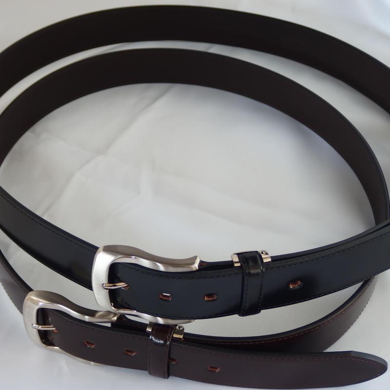 (New)数量限定! 超希少 q-HORSE コードバン紳士ベルト 幅35mm ロング盛上げタイプ120cm