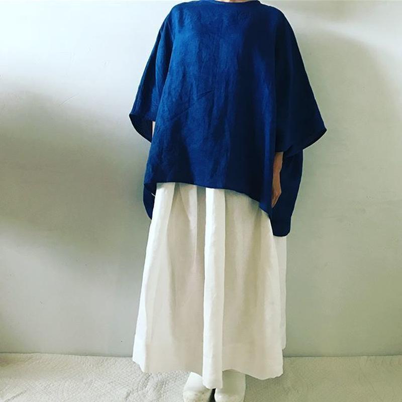 【予約商品】ヘンプ100%ギャザースカート(裏地シルクコットン)